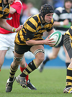 R.B.A.I. flanker Jamie Lusk heads for the Wallace line during the Northern Bank Schools Cup Final at Ravenhill. Result Wallace 0pts R.B.A.I. 15pts.