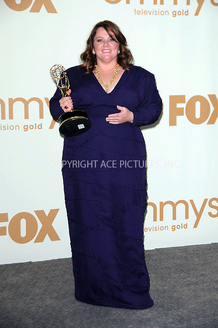 WWW.ACEPIXS.COM . . . . .  ....September 18 2011, LA....Melissa McCarthy in the press room of the 63rd Annual Primetime Emmy Awards held at Nokia Theatre L.A. on September 18, 2011 in Los Angeles, California....Please byline: PETER WEST - ACE PICTURES.... *** ***..Ace Pictures, Inc:  ..Philip Vaughan (212) 243-8787 or (646) 679 0430..e-mail: info@acepixs.com..web: http://www.acepixs.com