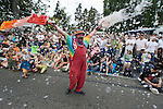 Gary GoLighty sprays the crowd with bubbles in the 21st annual Summer Solstice Parade held Saturday, June 20, 2009 in Seattle, Wa.  The parade was held Saturday, bringing out painted and naked bicyclists, bands, belly dancers and floats. (Jim Bryant photo  © 2009)
