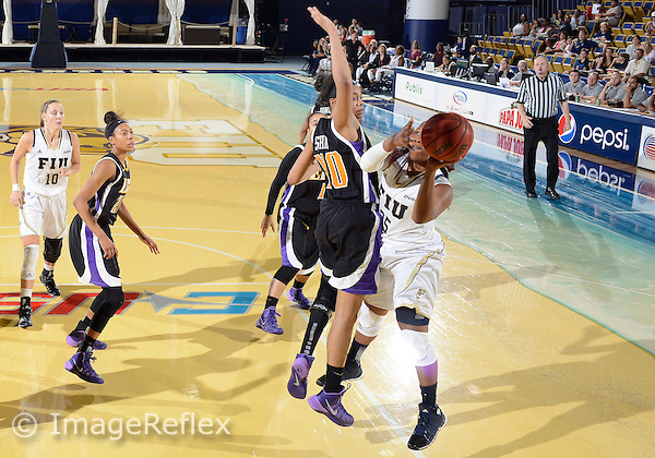 Florida International University forward Arielle Durant (25) plays against East Carolina University. FIU won the game 76-75 in overtime on January 11, 2014 at Miami, Florida.