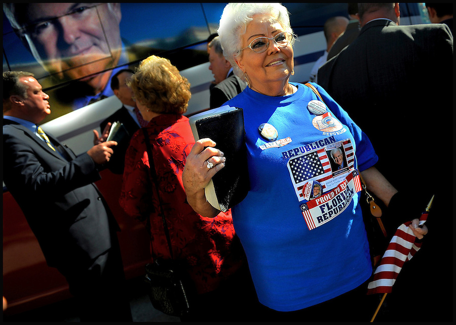 Clutching her Bible and wearing her homemade campaign shirt, Mary Gaulden, a supporter of Republican presidential candidate Newt Gingrich, waits near Gingrich's campaign bus in hopes of meeting the former House speaker as he leaves an event at Idlewild Baptist Church during a campaign stop in Lutz, Florida, USA, 29 January 2012. Republican candidates will campaign in Florida in the lead up to the Florida Primary on 31 January 2012.