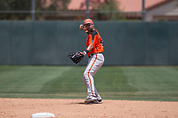 San Francisco Giants Orange second baseman Hector Santiago (43) prepares to make a throw to first base during an Extended Spring Training game against the Oakland Athletics at the Lew Wolff Training Complex on May 29, 2018 in Mesa, Arizona. (Zachary Lucy/Four Seam Images)