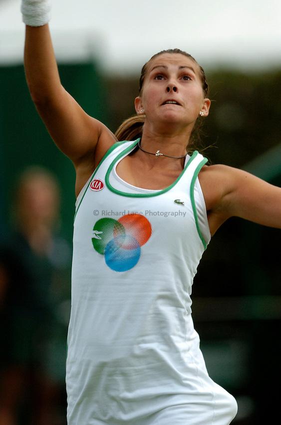 Photo: Richard Lane..Wimbledon Championships. 27/06/2006. .Spain's Maria Sanchez Lorenzo returns during her 1st round.