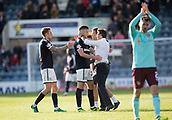 30th September 2017, Dens Park, Dundee, Scotland; Scottish Premier League football, Dundee versus Hearts; Dundee manager Neil McCann hugs Kerr Waddell after the youngster had scored twice to beat Hearts