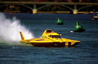 "George Stratton races the Grand Prix Hydroplane, ""Wild Fire"" at Detroit...© F. Peirce Williams 1998"