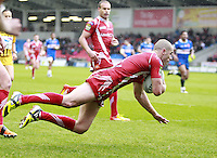PICTURE BY CHRIS MANGNALL /SWPIX.COM - Rugby League - Super League - Salford City Reds v Hull Kingston Rovers - Salford City Stadium, Salford, England - 09/04/12 - Salford's Luke Patten scores a try.