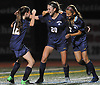Kate Fiola #20 of Massapequa, center, gets congratulated after  scoring a goal in the first half of the Nassau County varsity girls soccer Class AA semifinals against East Meadow at Cold Spring Harbor High School on Monday, Oct. 30, 2017. She struck again in the second half to give Massapequa a 2-0 lead.