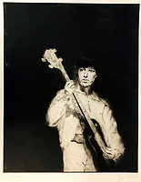 BNPS.co.uk (01202 558833)<br /> Pic: OmegaAuctions/BNPS<br /> <br /> PICTURED: A painting of former Rolling Stone, Bill Wyman <br /> <br /> A huge collection of artwork by legendary Rolling Stones singer Ronnie Wood has emerged for sale for a whopping £25,000.<br /> <br /> The group of 49 prints have been created by the 72-year-old rocker over a number of years and depict a host of famous faces.<br /> <br /> Among the celebrities to be given the artist's treatment are the likes of Mohammed Ali, Elvis Presley and even his own bandmates.
