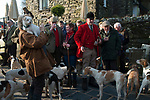 The Mayor of Troutbeck Hunt Day. The Meet at the Queens Head Troutbeck Troutbeck Cumbria England.