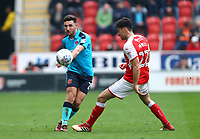 Lewis Coyle of Fleetwood Town and Joe Newell of Rotherham United during the Sky Bet League 1 match between Rotherham United and Fleetwood Town at the New York Stadium, Rotherham, England on 7 April 2018. Photo by Leila Coker.