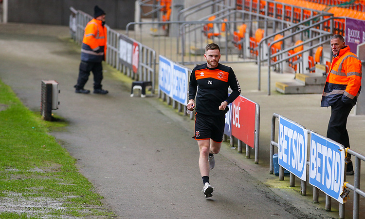 Blackpool's Ollie Turton jogs in to Bloomfield Road<br /> <br /> Photographer Alex Dodd/CameraSport<br /> <br /> The EFL Sky Bet League One - Blackpool v Shrewsbury Town - Saturday 19 January 2019 - Bloomfield Road - Blackpool<br /> <br /> World Copyright &copy; 2019 CameraSport. All rights reserved. 43 Linden Ave. Countesthorpe. Leicester. England. LE8 5PG - Tel: +44 (0) 116 277 4147 - admin@camerasport.com - www.camerasport.com