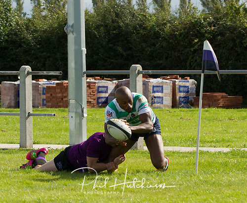 Leicester, England, 9th, September, 2017. <br /> <br /> Action in the National League 2 North rugby union match between Leicester Lions rfc and South Leicester rfc.  Myles Bean goes over in the corner but the try was disallowed for his foot being in touch<br /> <br /> <br /> <br /> <br /> &copy; Phil Hutchinson