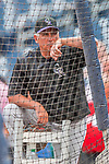 29 July 2017: Colorado Rockies Manager Bud Black watches batting practice prior to a game against the Washington Nationals at Nationals Park in Washington, DC. The Rockies defeated the Nationals 4-2 in the first game of their 3-game weekend series. Mandatory Credit: Ed Wolfstein Photo *** RAW (NEF) Image File Available ***