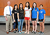 The Newsday All-Long Island girls badminton team poses for a group photo at company headquarters on Wednesday, June 15, 2016. Appearing are, from left, Coach David O'Connor of Port Washington, Julia Chan of Patchogue Medford, Joanna Ma of Patchogue-Medford, Connie He of Half Hollow Hills, Rachel Polansky of East Meadow and Stephanie Tavel of East Meadow.