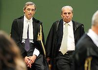 Avvocati Niccolo Ghedini e Michele Cerabona i nell   aula del tribunale di napoli durante il processo  per corruzione