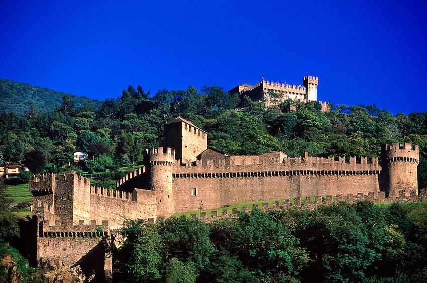 Castello di Montebello (and Castello di Sasso Corbaro in back), Bellinzona, Ticino, Switzerland