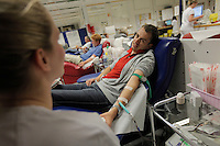 (Oslo July 22, 2011) Stian Kanestr&oslash;m donates blood at Ullev&aring;l hospital. <br /> A  large vehicle bomb was detonated near the offices of Norwegian Prime Minister Jens Stoltenberg on 22 July 2011. Although Stoltenberg was reportedly unharmed the blast resulted in several injuries and deaths. <br /> Another terrorist attack took place shortly afterwards, where a man killed over 80 children and youths attending a political camp at Ut&oslash;ya island. <br /> Anders Behring Breivik was arrested on the island and has admitted to carrying out both attacks.<br /> (photo:Fredrik Naumann/Felix Features)