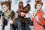 September 5, 2012, Tokyo, Japan - Japanese artist Kyary Pamyu Pamyu poses on stage with models during a press conference as she is the new image character for the fashion brand g.u.'s upcoming 2012 fall/winter season. (Photo by Christopher Jue/AFLO)