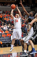 Virginia guard Kelsey Wolfe (10) handles the ball during an NCAA college basketball game in Charlottesville, Va. Duke defeated Virginia 62-41...