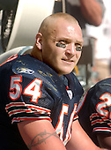 All Pro Chicago Bear linebacker Brian Urlacher (54) watches the offense from the bench during his team's visit to FedEx Field to play the Washington Redskins in Landover, Maryland on September 11, 2005.  The Redskins won the game 9 - 7..Credit: Ron Sachs / CNP