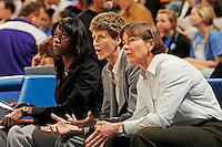 January 10, 2010.  Stanford assistant coaches Bobbie Kelsey, Amy Tucker and head coach Tara VanDerveer during the Cardinal's game against UCLA.  The Cardinal defeated the Bruins, 65-61.LOS ANGELES, CA - JANUARY 10:  Bobby Kelsey, Amy Tucker and Tara VanDerveer of the Stanford Cardinal during Stanford's 65-61 win against the UCLA Bruins on January 10, 2010 at Pauley Pavilion in Los Angeles, California.