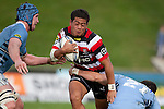 August Pulu braces for the double hit. ITM Cup rugby game between Counties Manukau Steelers and Northland, played at Bayer Growers Stadium, Pukekohe, on Sunday September 26th 2010..The Counties Manukau Steelers won 40 - 24 after leading 27 - 7 at halftime.