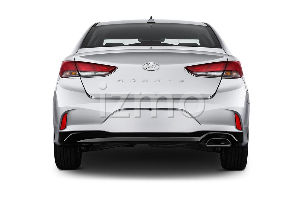 Straight rear view of a 2018 Hyundai Sonata SEL 4 Door Sedan stock images