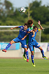 (L to R) <br /> Saori Takahashi (Elfen), <br /> Saori Ariyoshi (Beleza), <br /> Rie Azami (Elfen), <br /> JULY 12, 2015 - Football / Soccer : <br /> 2015 Plenus Nadeshiko League Division 1 <br /> between NTV Beleza 1-0 AS Elfen Saitama <br /> at Hitachinaka Stadium, Ibaraki, Japan. <br /> (Photo by YUTAKA/AFLO SPORT)