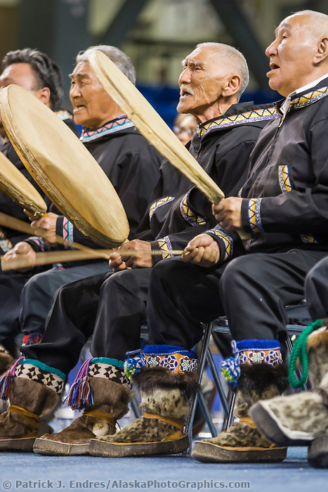 Utuqqagmiut Inupiat (Eskimo) dancers, (drums usually made from seal or caribou skin) from the coastal village of Wainwright, perform at the World Eskimo Indian Olympics held annually in Fairbanks, Alaska