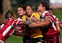 Sarina Fiso Clark of Manurewa gets wrapped up. Premier Women's Rugby League, Papakura Sisters v Manurewa Wahine, Prince Edward Park, Auckland, Sunday 13th August 2017. Photo: Simon Watts / www.phototek.nz