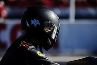 Nov 11, 2010; Pomona, CA, USA; NHRA pro stock motorcycle rider Katie Sullivan during qualifying for the Auto Club Finals at Auto Club Raceway at Pomona. Mandatory Credit: Mark J. Rebilas-