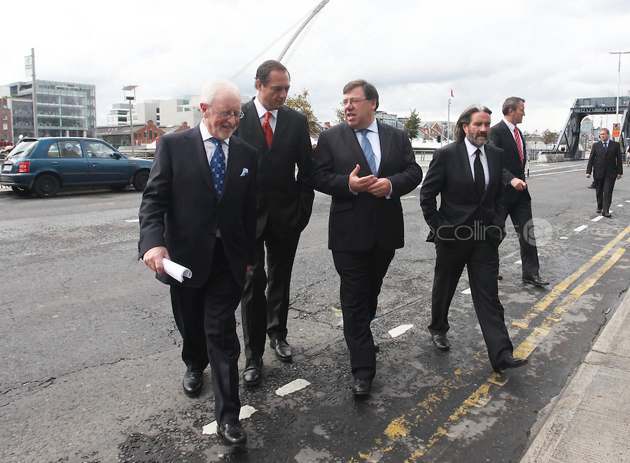 07/09/2010.(L to R).Dermot Dwyer Chairman of the Convention Centre, Richard  Barrett Treasury Holdings co-founder Richard Barrett ,An Taoiseach Brian Cowen TD & Johnny Ronan at the opening of the Convention Centre in Spencers Dock,  Dublin..Photo: Gareth Chaney Collins
