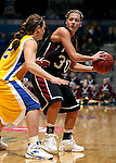 SIOUX FALLS, SD - MARCH 9: Nicole James #30 of IUPUI looks for help while being guarded by Ashlea Muckenheirn #42 of SDSU in the first half of their semifinal game Monday afternoon at the Summit League Tournament in Sioux Falls. (Photo by Dave Eggen/Inertia)