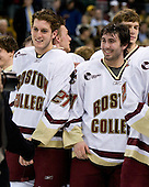 Andrew Orpik (BC 27), Tim Filangieri (BC 5), Benn Ferriero (BC 21), Carl Sneep (BC 7) - The Boston College Eagles defeated the Harvard University Crimson 6-5 in overtime on Monday, February 11, 2008, to win the 2008 Beanpot at the TD Banknorth Garden in Boston, Massachusetts.