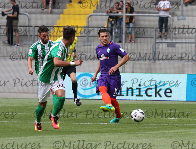Zlatko Junuzovic plays the ball wide in the Werder Bremen v Real Betis match in the Bundeswehr Karriere Cup Dresden 2016 played at the DDV Stadion, Dresden on 29.7.16.