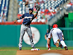 24 September 2012: Milwaukee Brewers infielder Jean Segura makes a play at second against the Washington Nationals at Nationals Park in Washington, DC. The Brewers fell 12-2 to the Nationals in the final game of their 4-game series, splitting the series at two. Mandatory Credit: Ed Wolfstein Photo