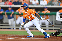Tennessee Smokies Charcer Burks (3) swings at a pitch during a game against the Biloxi Shuckers on August 10, 2019 in Kodak, Tennessee. The Shuckers defeated the Smokies 7-3. (Tony Farlow/Four Seam Images)
