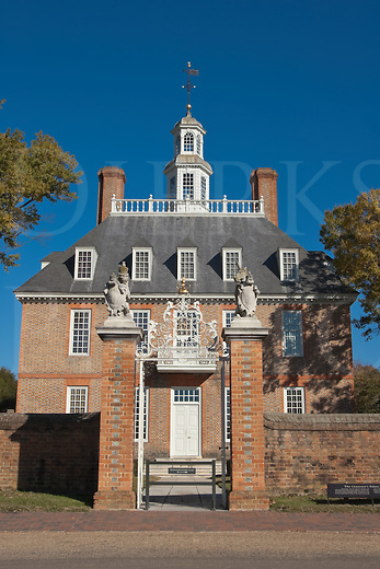 The entrance to the Governor's Mansion in Colonial Williamsburg, VA, USA.