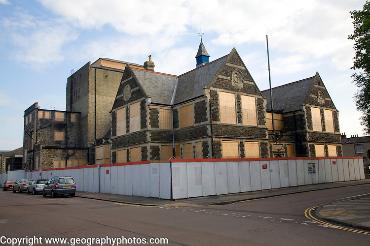 Boarded up Mechanics Institute. The Railway Village built by GWR to house workers in the 1840s, Swindon, England