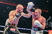 30th September 2017, Echo Arena, Liverpool, England; Matchroom Boxing, Eliminator for WBA Bantamweight World Championship;  Paul Butler versus Stuart Hall; Paul Butler throws a right hook at Stuart Hall and misses