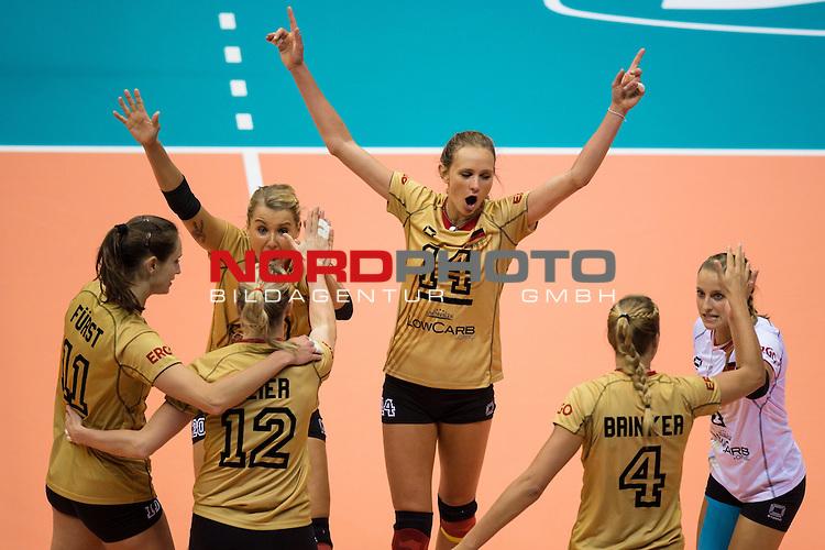 05.10.2014, Pala Trieste, Triest<br /> Volleyball, FIVB Volleyball Women`s World Championship 2014, 2. Runde, Deutschland (GER) vs. Aserbaidschan (AZE)<br /> <br /> Jubel Christiane F&uuml;rst / Fuerst (#11 GER), Heike Beier (#12 GER), Mareen Apitz (#20 GER), Margareta Kozuch (#14 GER), Maren Brinker (#4 GER), Lenka D&uuml;rr / Duerr (#1 GER)<br /> <br />   Foto &copy; nordphoto / Kurth