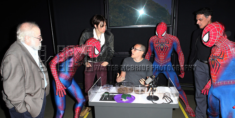 Reeve Carney & Robert Cuccioli from Broadway's 'Spider-Man Turn Off The Dark'  visit with Emerson Nunez & Norman Platnik curator of  'Spiders Alive!' at the American Museum of Natural History in New York City on 9/18/2012.