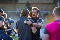 Wycombe Wanderers Manager Gareth Ainsworth welcomes AFC Wimbledon Manager Neal Ardley  during the Friendly match between Wycombe Wanderers and AFC Wimbledon at Adams Park, High Wycombe, England on 25 July 2017. Photo by Kevin Prescod.