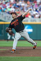 Andrew Suarez (30) of the Miami Hurricanes pitches during a game between the Miami Hurricanes and Florida Gators at TD Ameritrade Park on June 13, 2015 in Omaha, Nebraska. (Brace Hemmelgarn/Four Seam Images)