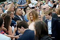 First Lady Melania Trump and son Barron attend the annual Easter Egg roll on the South Lawn of the White House in Washington, DC, on April 17, 2017. <br /> CAP/MPI/CNP/RS<br /> &copy;RS/CNP/MPI/Capital Pictures