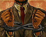 Midsection of businessman with dollar shaped handcuff representing corporate crime