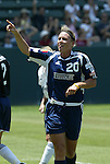 27 June 2004: Abby Wambach celebrates after her goal in the 61st minute had given San Diego a 1-0 lead. The San Diego Spirit defeated the Carolina Courage 2-1 at the Home Depot Center in Carson, CA in Womens United Soccer Association soccer game featuring guest players from other teams.