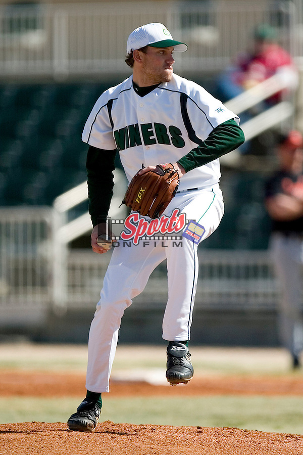 Charlotte starting pitcher Zach Rosenbaum (22) in action versus Campbell at Fieldcrest Cannon Stadium in Kannapolis, NC, Saturday, February 24, 2007.  The Charlotte 49'ers defeated the Campbell Camels 13-2.