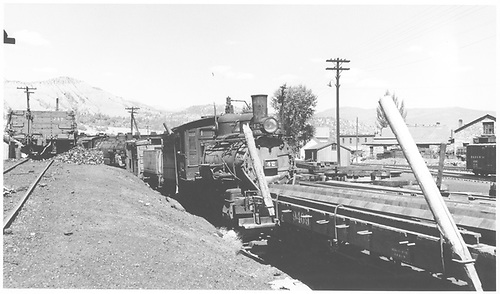 Pilot end, engineer side of RGS #42 stored in the Durango yards before heading to California and Knott's Berry Farm.<br /> RGS  Durango, CO  Taken by Richardson, Robert W. - 8/1953