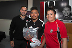 Under 19's Most Improved Player of the Year Antonio Kata from Karaka with Steeler Onosai Auva'a and Black Fern Rawinia Everitt. Counties Manukau Rugby Unions Junior Prize giving held at ECOLight stadium on Thursday October 22nd 2015. Photo by Richard Spranger